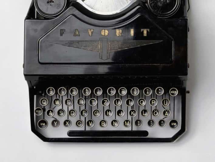 Stipplr Stock Photo Rare 1937 Adler Favorit 1 Typewriter Top View Product Shot