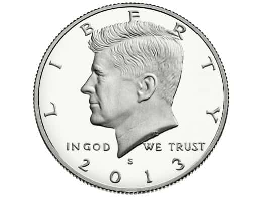 Stipplr Stock Photo United States John F. Kennedy Half Dollar Coin Obverse