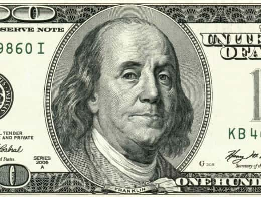 Stipplr Stock Photo American 100 Dollar Bill with Benjamin Franklin