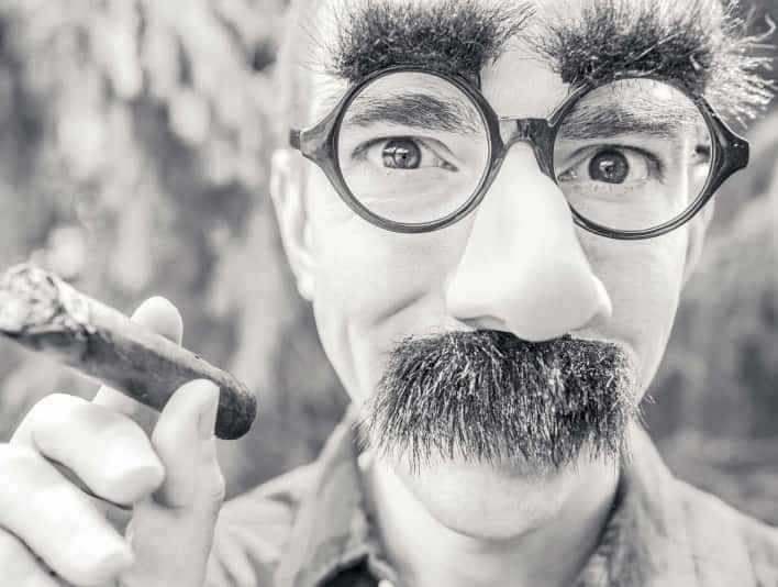 Stipplr Stock Photo Charlie Chaplin Cosplay Glasses with Eyebrows and Moustache