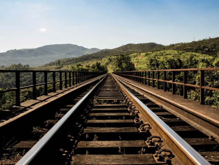 Stipplr Stock Photo Rail Road Crossing Bridge Into Mountain Side