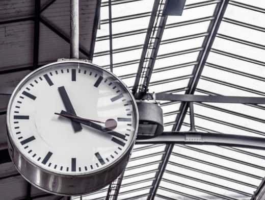 Stipplr Stock Photo Large Swiss Clock Hanging From Ceiling In Terminal Station
