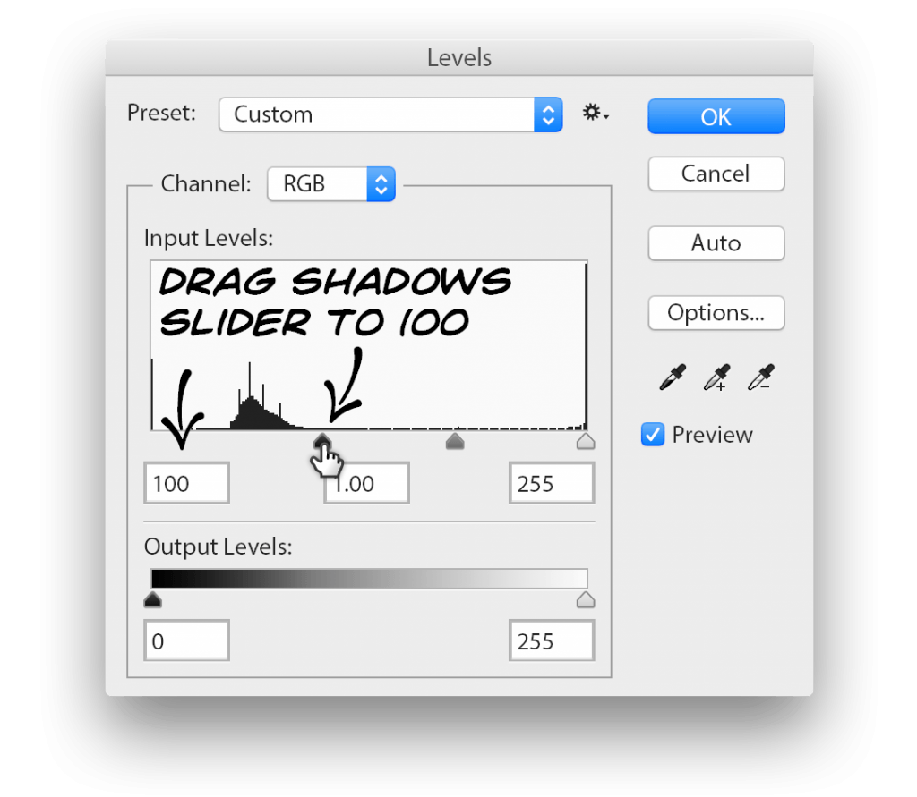 Stipplr Adjust Photoshop Levels Panel to Equalize Dark Linework Evenly