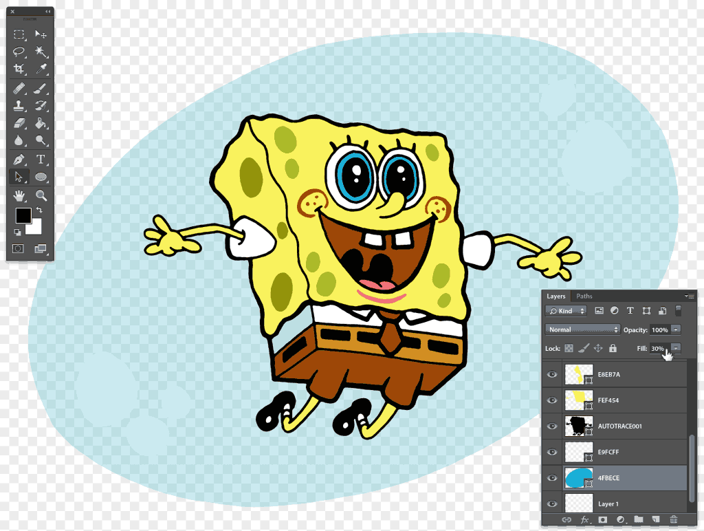 How to color Spongebob air bubble in preparation before adding sea background