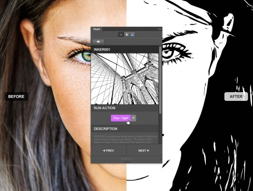 How to convert a photo to linework with Stipplr panel actions for Photoshop
