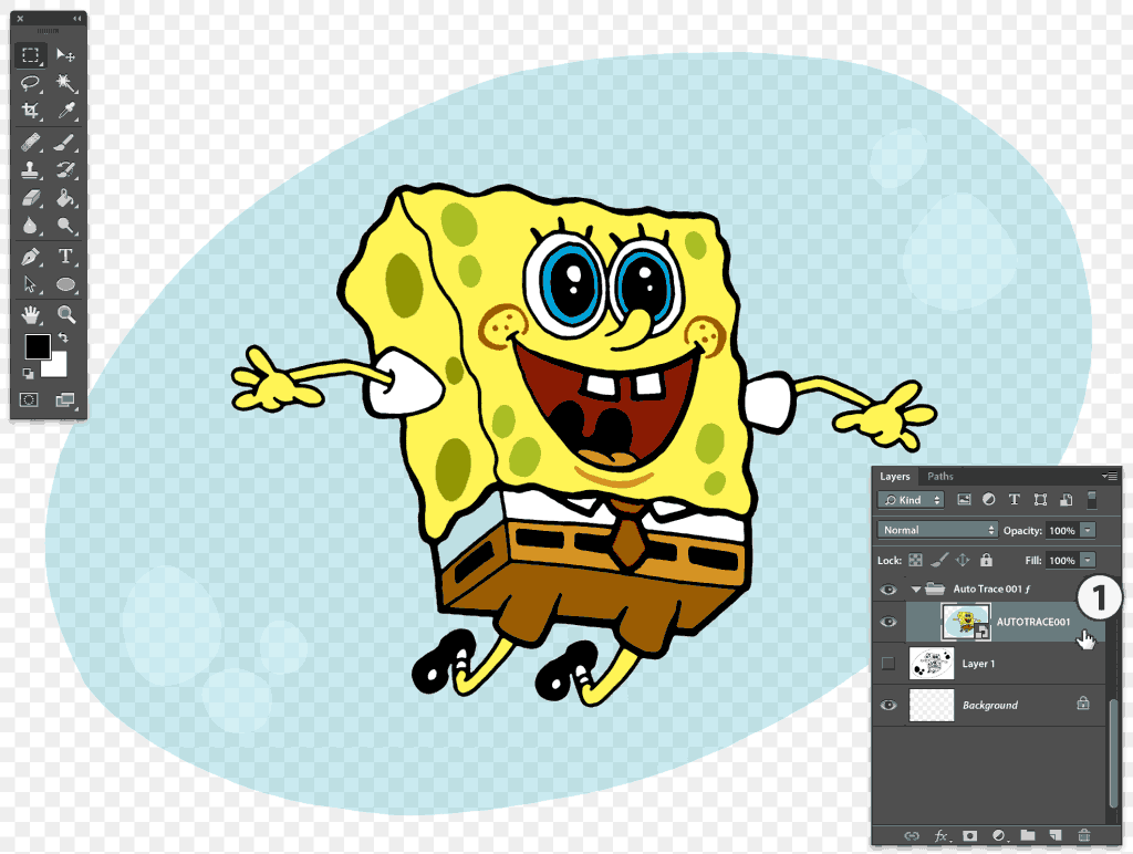 Photoshop Fully coloured Spongebob vector trace layer
