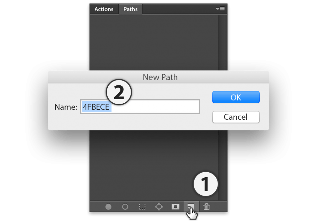 Stipplr Photoshop open Paths panel and create a new Path