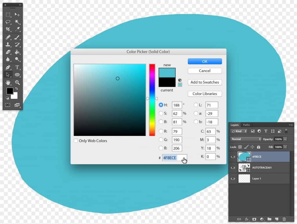 Stipplr Photoshop using the Color Picker to choose a solid color for the new vector shape layer