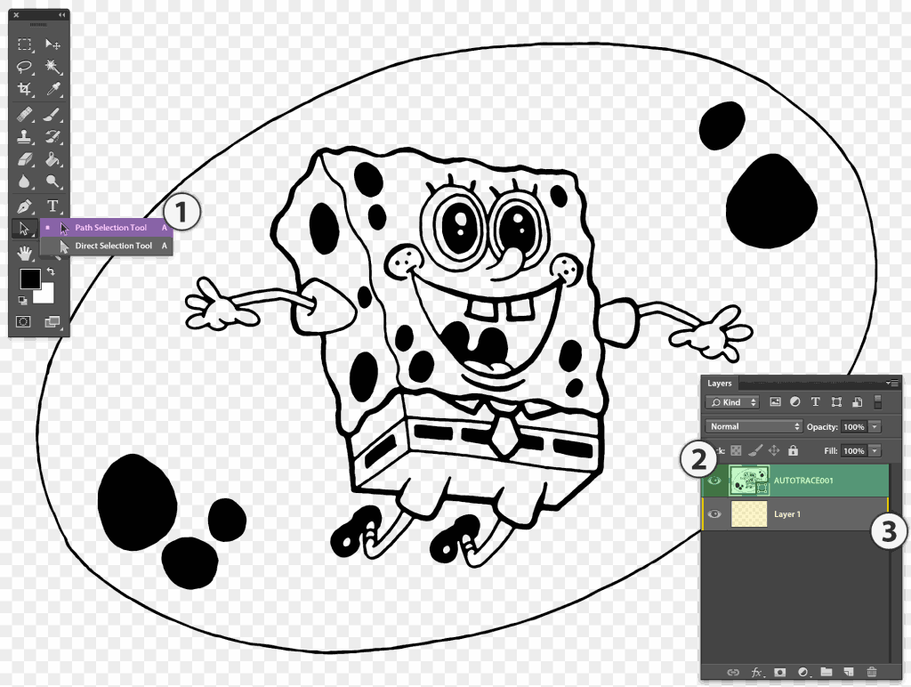 Stipplr separating the bubble from Spongebob vector shape layer