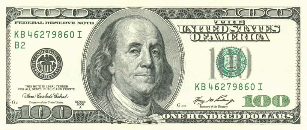 American Federal Reserve Note 100 Dollar Bill with Benjamin Franklin