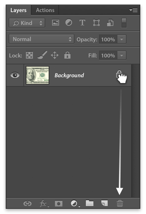 Photoshop drag lock icon to trash can to remove lock