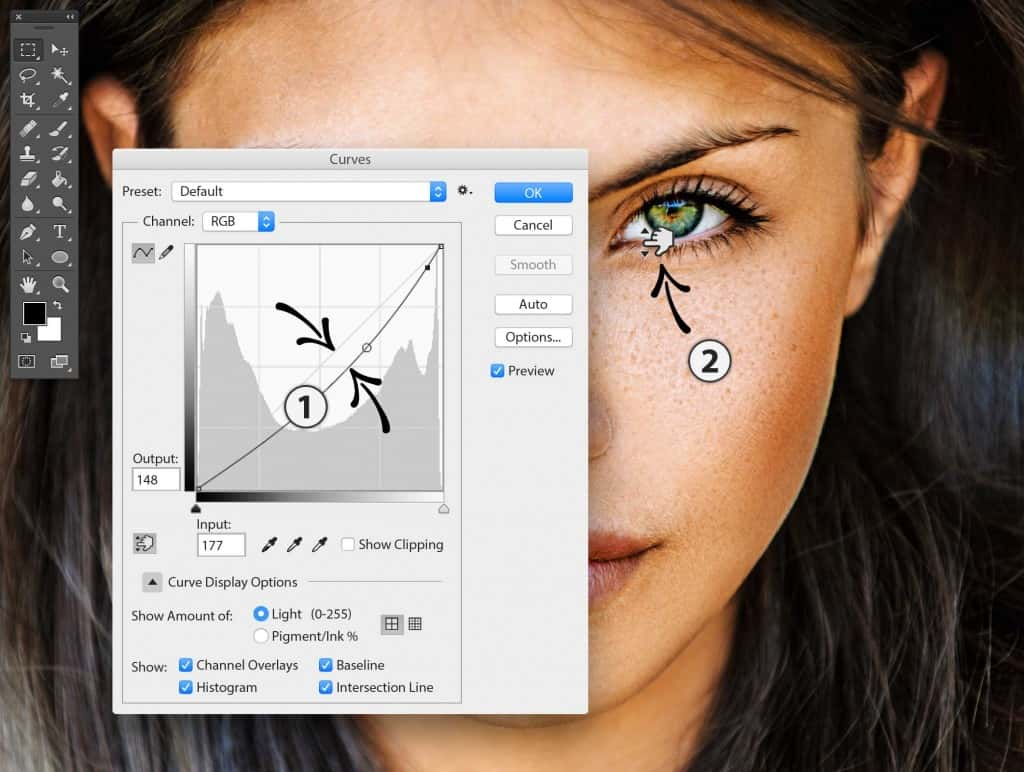 Photoshop drag adjustment over image tool to modify gray point