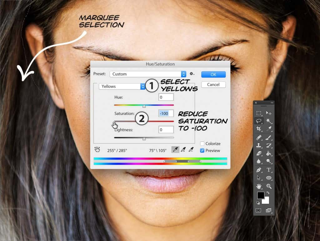 Photoshop Hue Saturation modal to remove Yellows from subjects hair