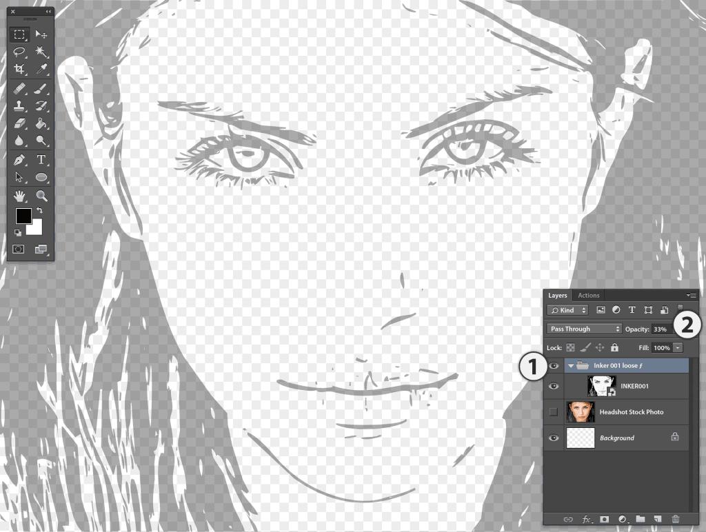 Photoshop Stipplr INKER001 result set to 33% opacity