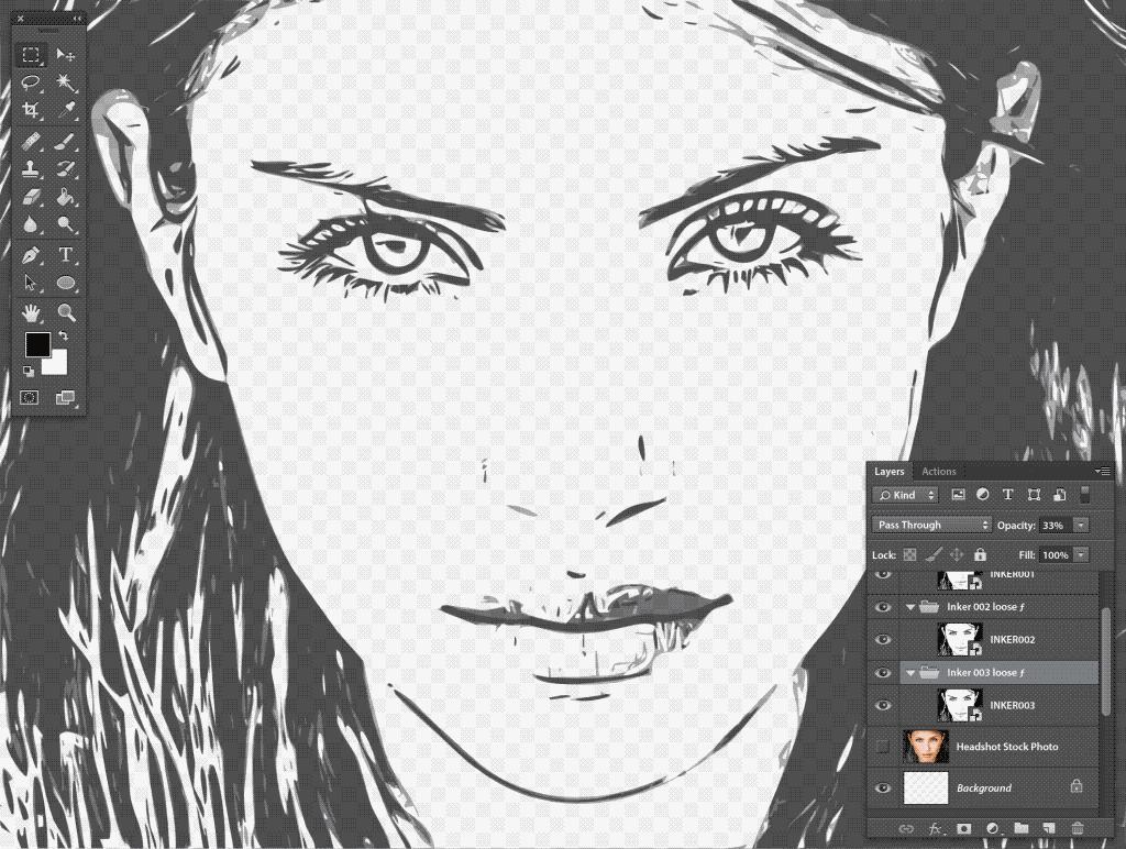 Photoshop Stipplr INKER003 result set to 33% opacity