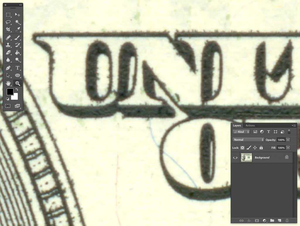 Photoshop Zoomed view of print color bleeding on US 100 Dollar bill