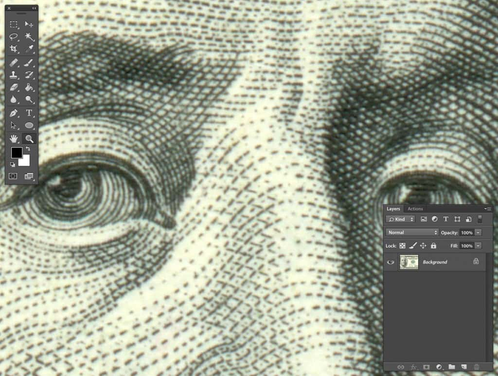 Photoshop Zoomed inspection of US 100 Dollar bill