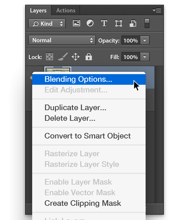 Photoshop select Blending Options from selected Layer options menu