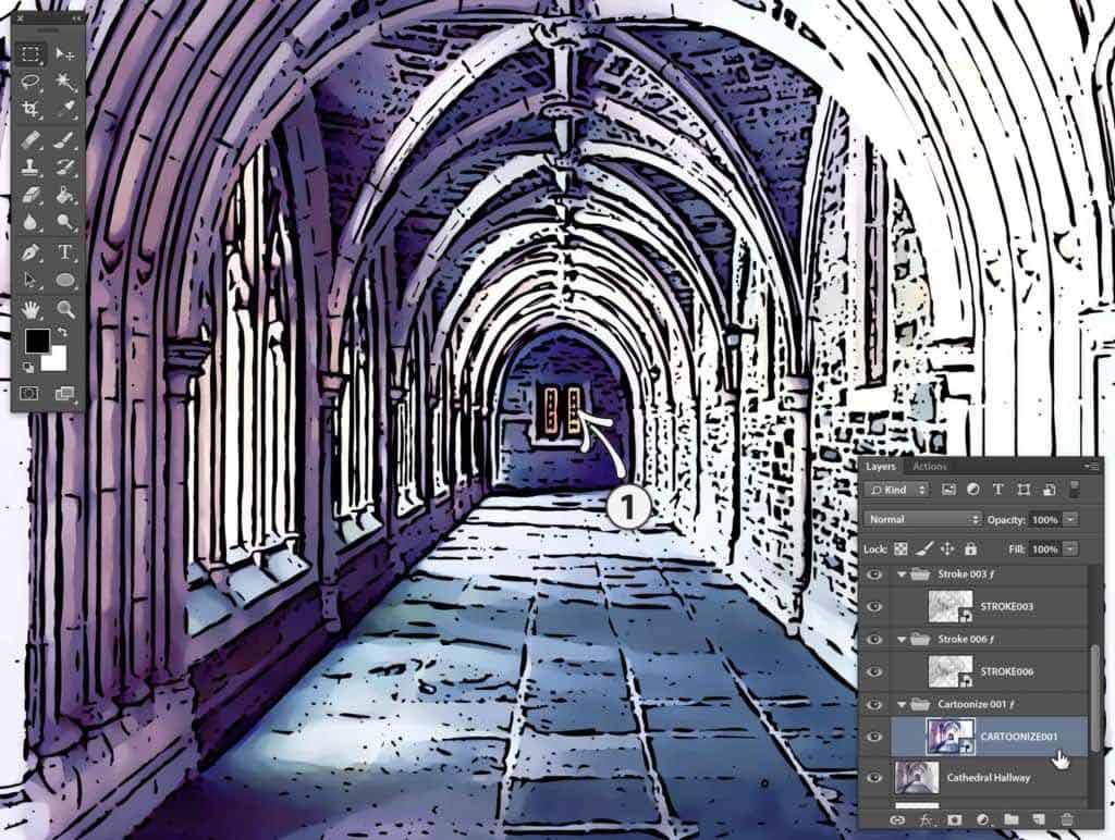 Photoshop Stipplr photo to cartoonize base color result