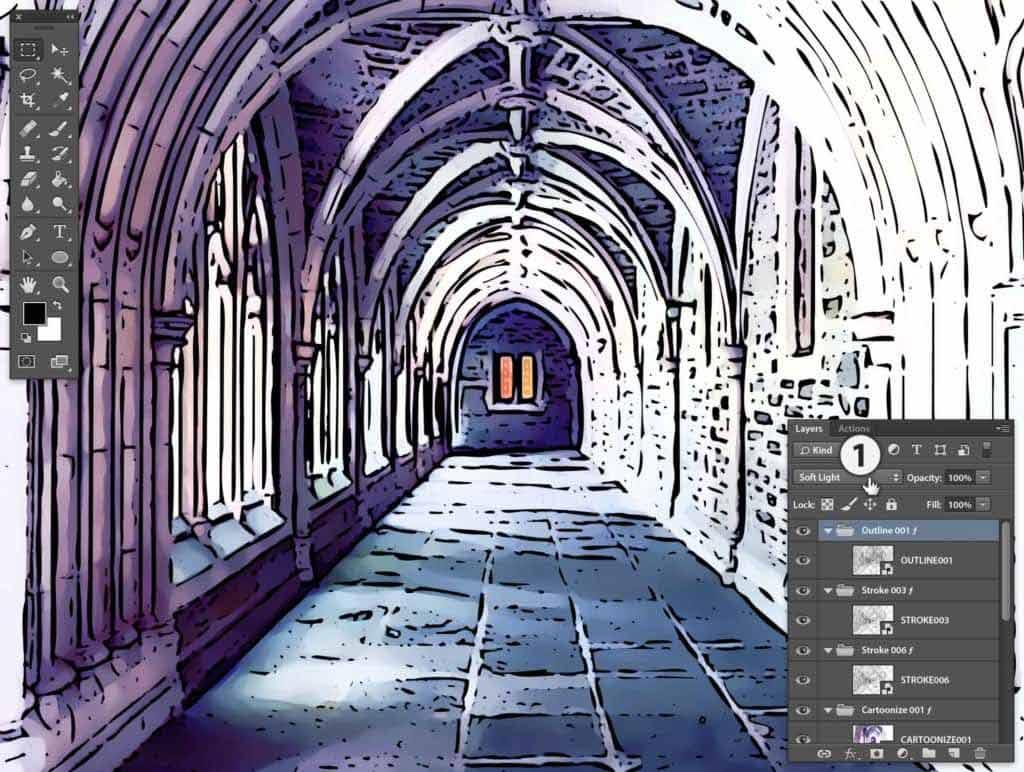 Photoshop Stipplr photo to cartoonize outline stroke with soft light effect