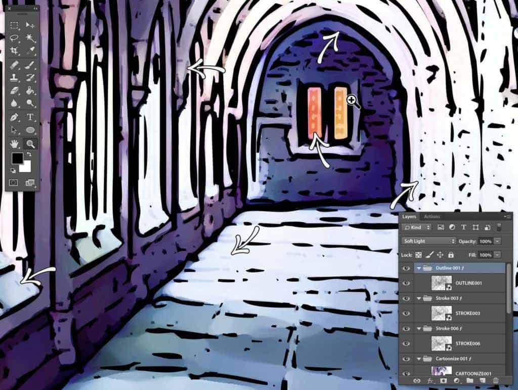 Photoshop Stipplr photo to cartoonize zoom soft light stroke effect