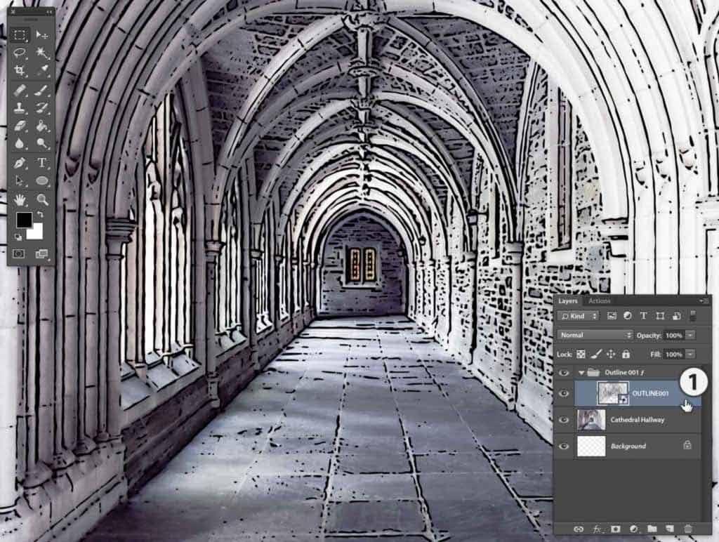 Photoshop Stipplr photo to cartoonize OUTLINE001 result