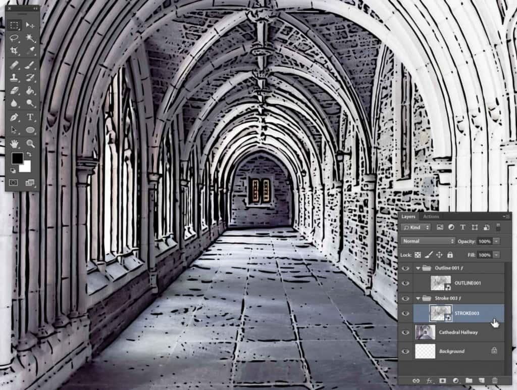 Photoshop Stipplr photo to cartoonize STROKE003 result