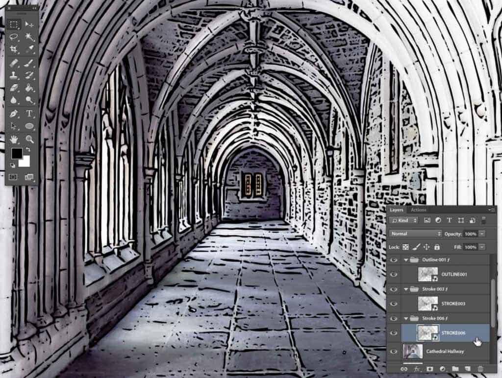 Photoshop Stipplr photo to cartoonize STROKE006 result