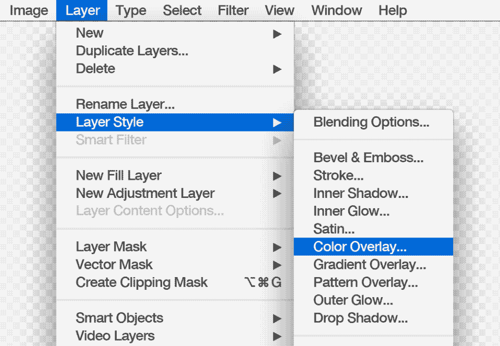 Open Color Overlay... modal using the Photoshop Layers Menu