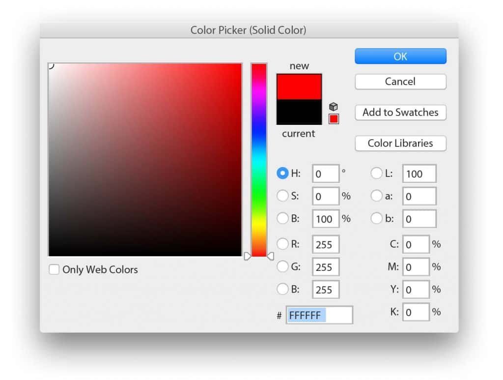 Photoshop Color Picker modal with white selection