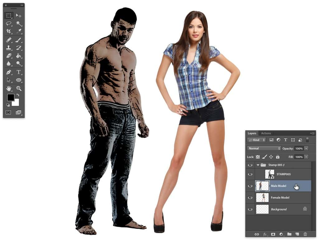 Stipplr select male model layer and make it visible