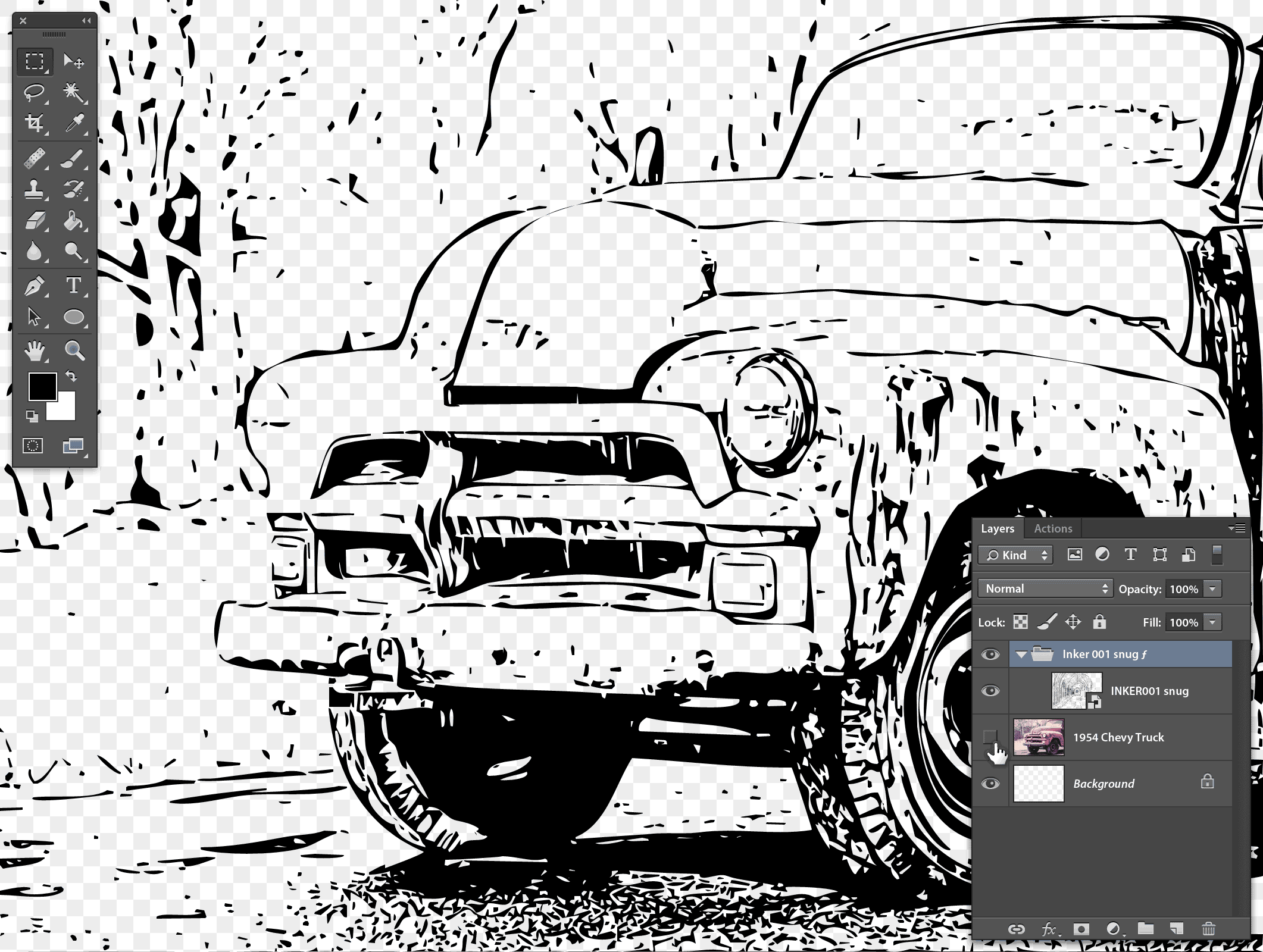 Stipplr graphic novel line art inker001 1954 chevy hidden for better view