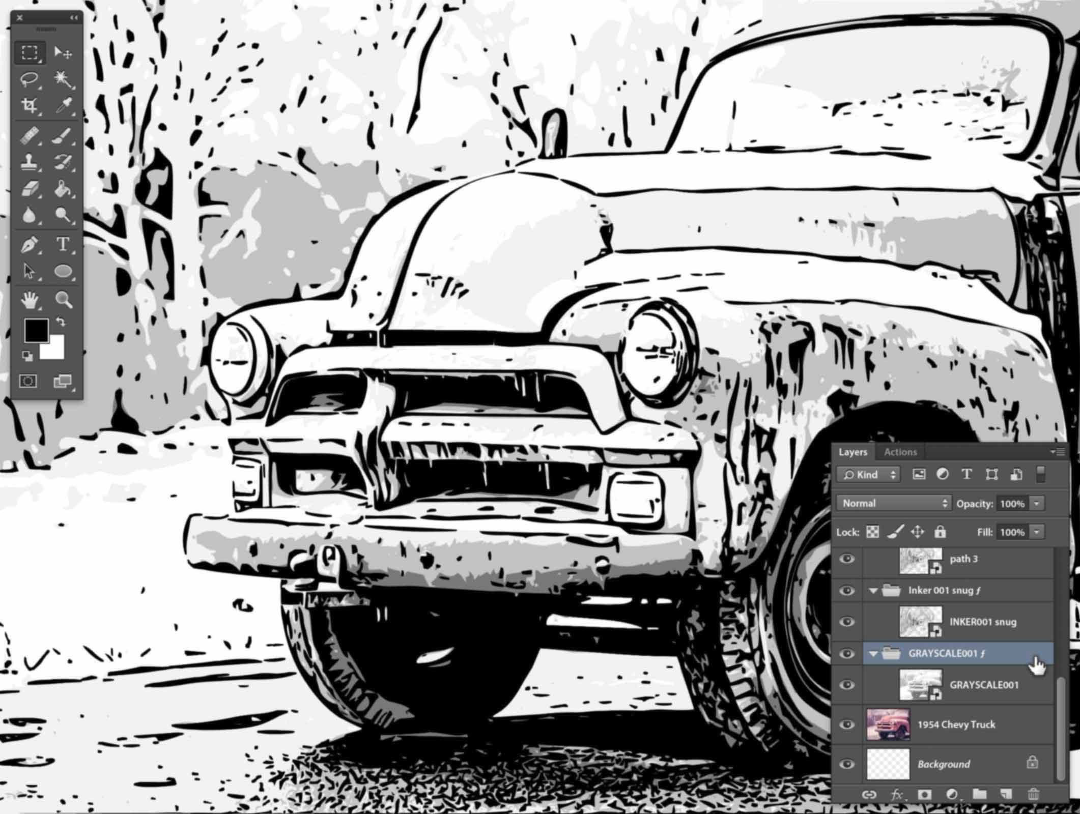 How to turn color photos into graphic novel line art for Convert photo to coloring page photoshop