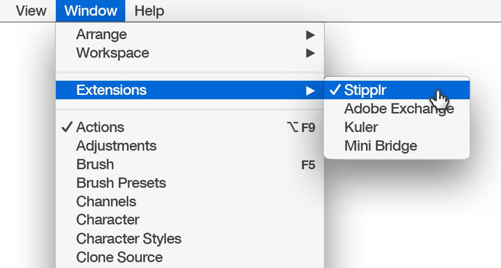 Photoshop menus selecting Stipplr Panel