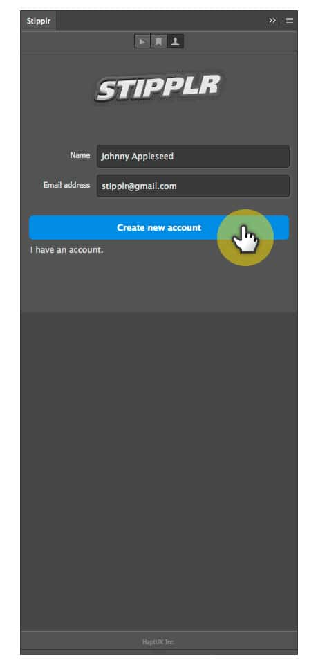 Stipplr Panel create new user account