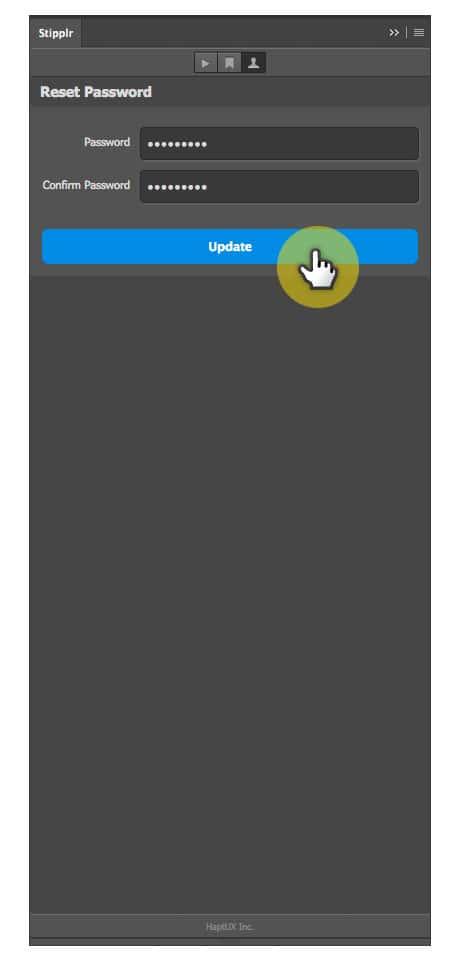 Stipplr panel update new password