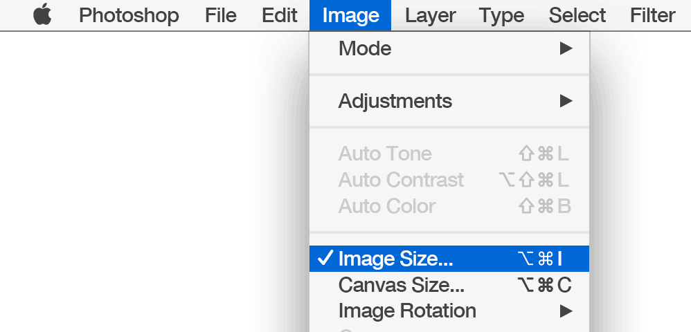 Select Image Size from the Photoshop Image menu